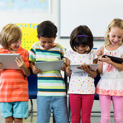 Students using tablets at school.
