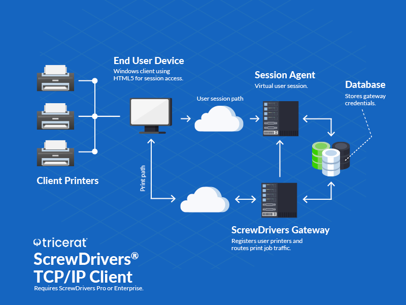 ScrewDrivers TCP/IP Client diagram of workflow.